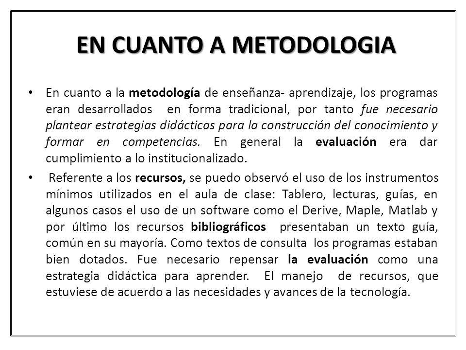 EN CUANTO A METODOLOGIA En cuanto a la metodología de enseñanza- aprendizaje, los programas eran desarrollados en forma tradicional, por tanto fue nec