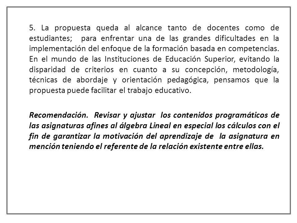 5. La propuesta queda al alcance tanto de docentes como de estudiantes; para enfrentar una de las grandes dificultades en la implementación del enfoqu