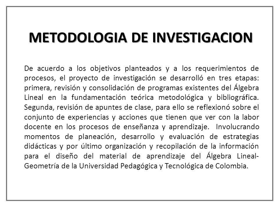 METODOLOGIA DE INVESTIGACION De acuerdo a los objetivos planteados y a los requerimientos de procesos, el proyecto de investigación se desarrolló en t