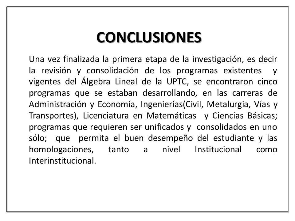 CONCLUSIONES Una vez finalizada la primera etapa de la investigación, es decir la revisión y consolidación de los programas existentes y vigentes del