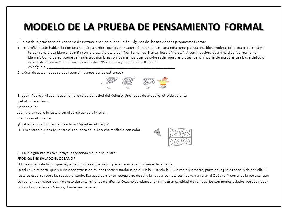 MODELO DE LA PRUEBA DE PENSAMIENTO FORMAL Al inicio de la prueba se da una serie de instrucciones para la solución. Algunas de las actividades propues