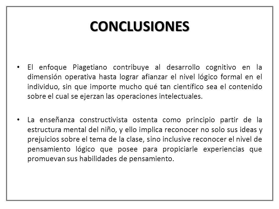 CONCLUSIONES El enfoque Piagetiano contribuye al desarrollo cognitivo en la dimensión operativa hasta lograr afianzar el nivel lógico formal en el ind