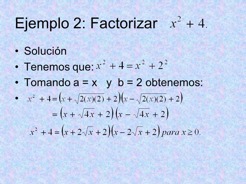 Ejemplo 2: Factorizar Solución Tenemos que: Tomando a = x y b = 2 obtenemos: