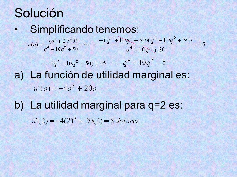 Solución Simplificando tenemos: a)La función de utilidad marginal es: b)La utilidad marginal para q=2 es: