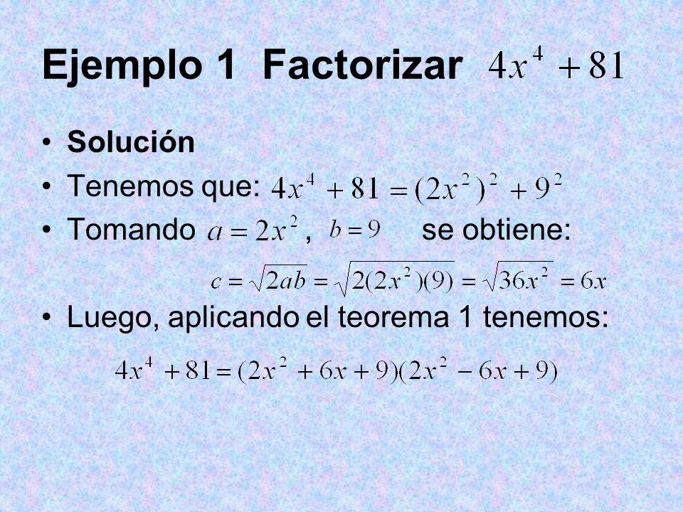Ejemplo 1 Factorizar Solución Tenemos que: Tomando, se obtiene: Luego, aplicando el teorema 1 tenemos: