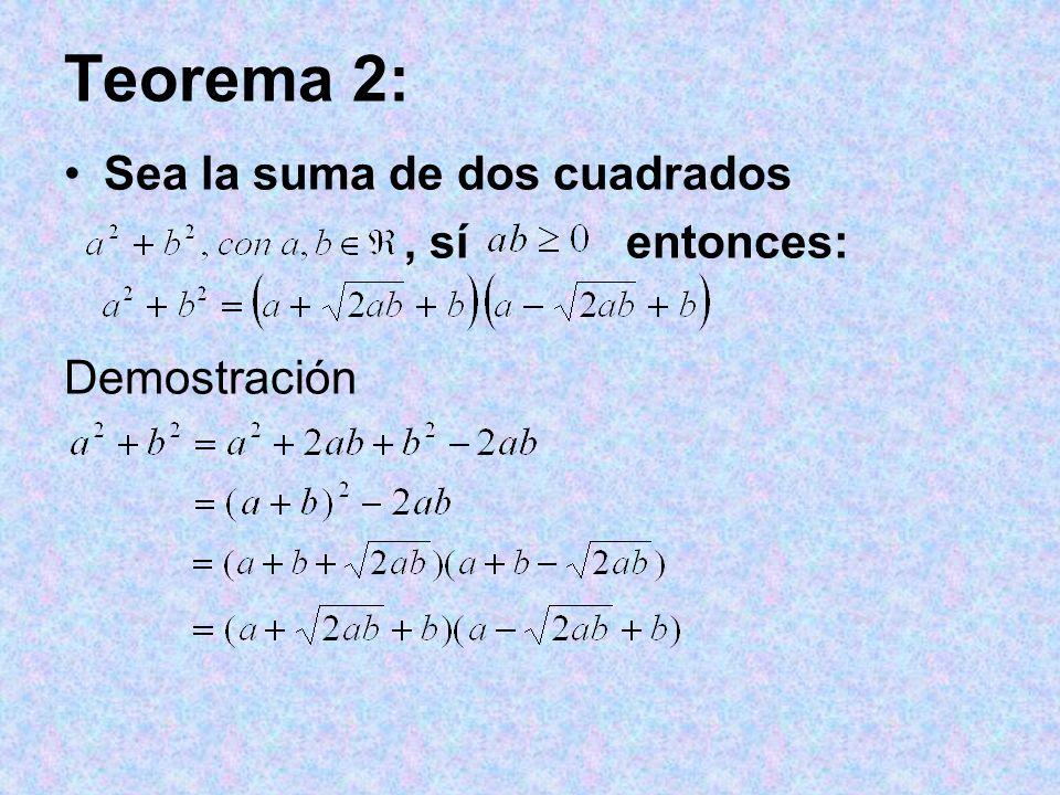 Teorema 2: Sea la suma de dos cuadrados, sí entonces: Demostración