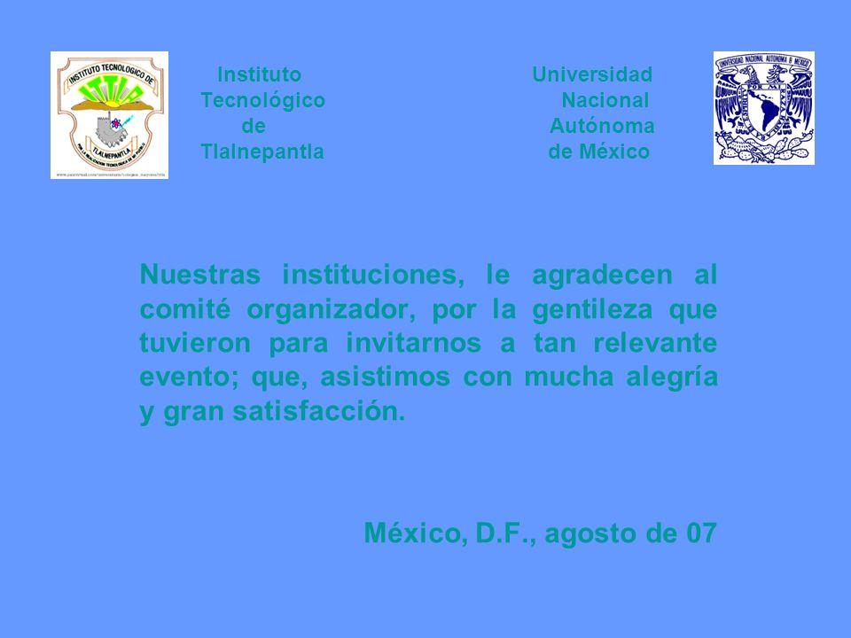 Instituto Universidad Tecnológico Nacional de Autónoma Tlalnepantla de México Nuestras instituciones, le agradecen al comité organizador, por la genti