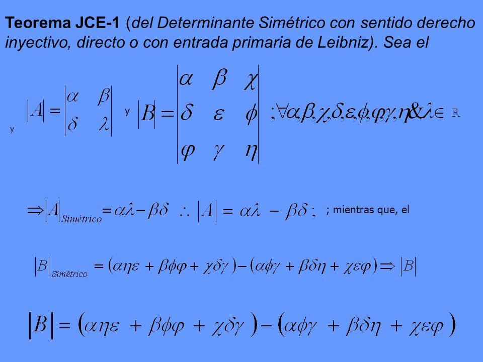 Teorema JCE-1 (del Determinante Simétrico con sentido derecho inyectivo, directo o con entrada primaria de Leibniz). Sea el y ; mientras que, el y