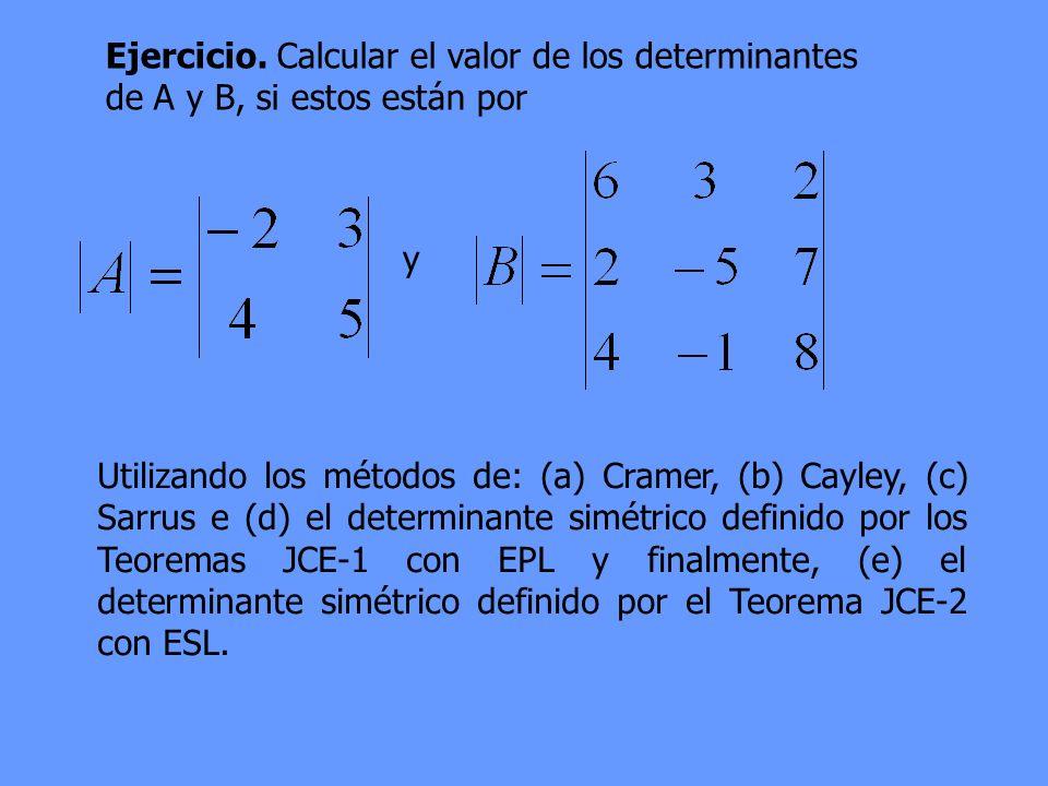 Ejercicio. Calcular el valor de los determinantes de A y B, si estos están por y Utilizando los métodos de: (a) Cramer, (b) Cayley, (c) Sarrus e (d) e