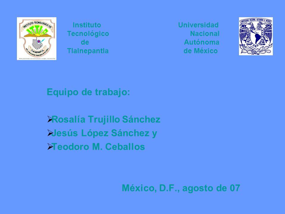 Instituto Universidad Tecnológico Nacional de Autónoma Tlalnepantla de México Equipo de trabajo: Rosalía Trujillo Sánchez Jesús López Sánchez y Teodor