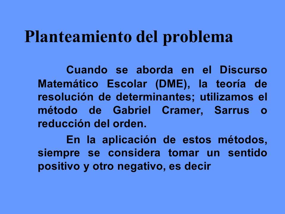 Planteamiento del problema Cuando se aborda en el Discurso Matemático Escolar (DME), la teoría de resolución de determinantes; utilizamos el método de