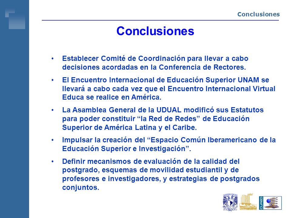 Conclusiones Establecer Comité de Coordinación para llevar a cabo decisiones acordadas en la Conferencia de Rectores.