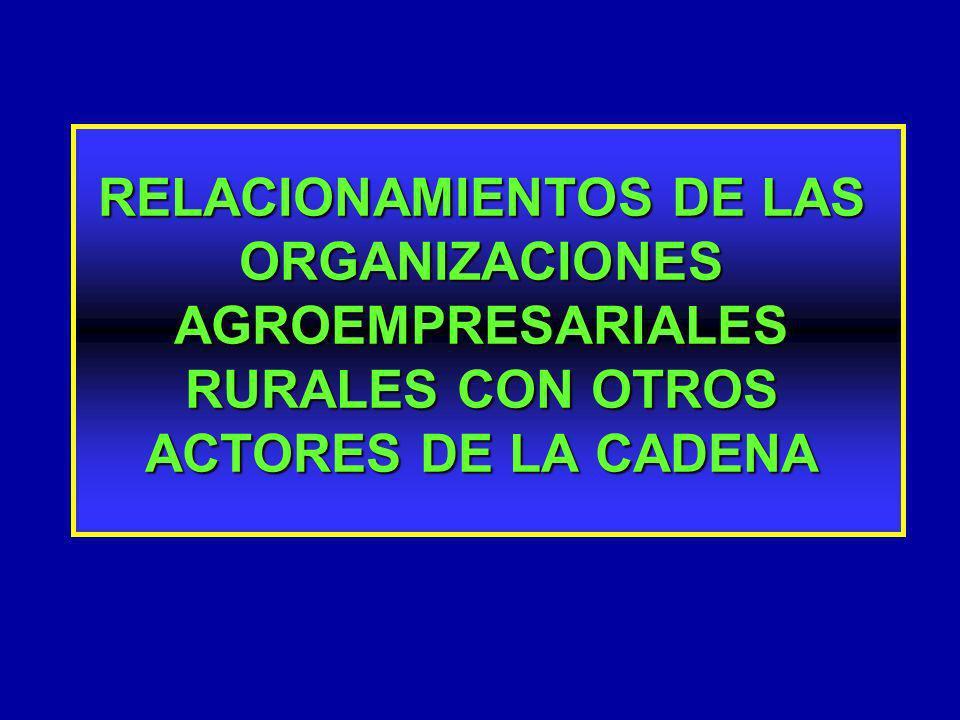 VENTAJAS DE LOS MECANISMOS DE ASOCIATIVIDAD MENORES COSTOS DE TRANSACCIÓN MENORES COSTOS DE TRANSACCIÓN DISMINUCIÓN DEL NÚMERO DE AGENTES QUE INTERVIENEN EN LA COMERCIALIZACIÓN DISMINUCIÓN DEL NÚMERO DE AGENTES QUE INTERVIENEN EN LA COMERCIALIZACIÓN MAYOR INTERCAMBIO DE INFORMACIÓN MAYOR INTERCAMBIO DE INFORMACIÓN MEJORA POSIBILIDAD DE COORDINAR Y CONCENTRAR RECURSOS Y ESFUERZOS MEJORA POSIBILIDAD DE COORDINAR Y CONCENTRAR RECURSOS Y ESFUERZOS PROPICIA ACERCAMIENTO, DIÁLOGO Y ACUERDOS ENTRE LOS SECTORES PÚBLICO Y PRIVADO PROPICIA ACERCAMIENTO, DIÁLOGO Y ACUERDOS ENTRE LOS SECTORES PÚBLICO Y PRIVADO