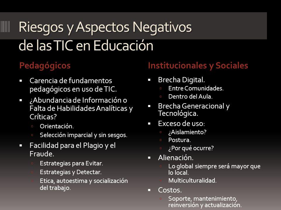 Riesgos y Aspectos Negativos de las TIC en Educación PedagógicosInstitucionales y Sociales Carencia de fundamentos pedagógicos en uso de TIC. ¿Abundan