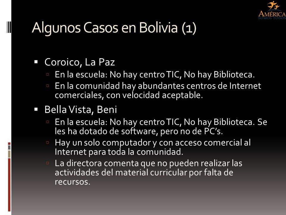 Algunos Casos en Bolivia (1) Coroico, La Paz En la escuela: No hay centro TIC, No hay Biblioteca. En la comunidad hay abundantes centros de Internet c