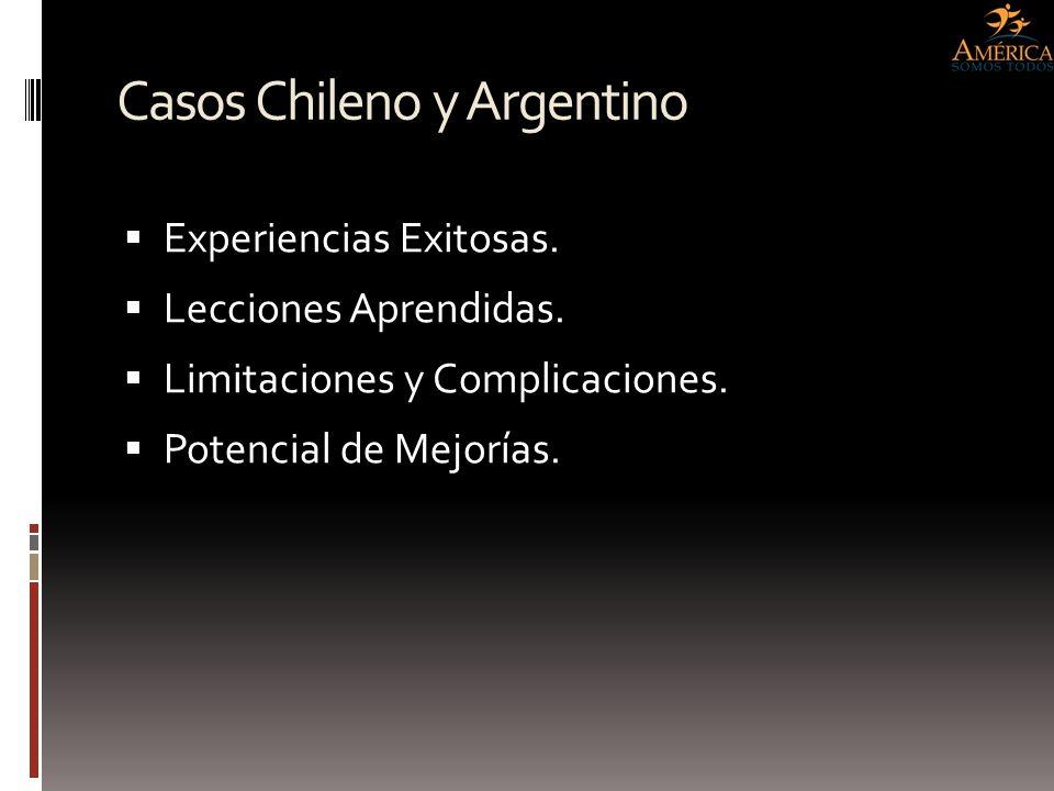 Casos Chileno y Argentino Experiencias Exitosas. Lecciones Aprendidas. Limitaciones y Complicaciones. Potencial de Mejorías.