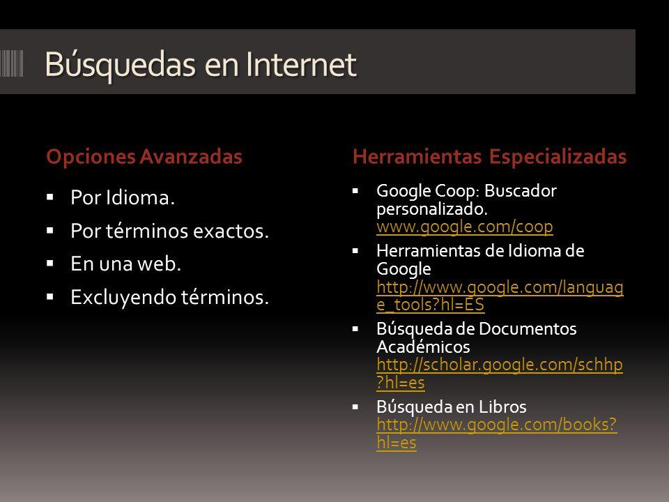 Búsquedas en Internet Opciones AvanzadasHerramientas Especializadas Por Idioma. Por términos exactos. En una web. Excluyendo términos. Google Coop: Bu