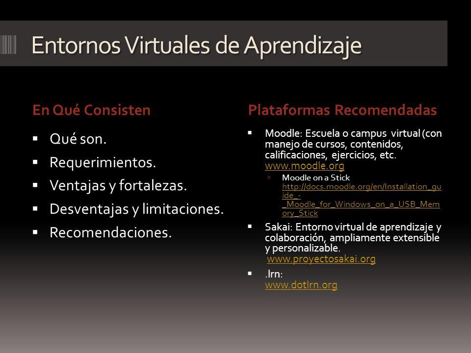 Entornos Virtuales de Aprendizaje En Qué ConsistenPlataformas Recomendadas Qué son. Requerimientos. Ventajas y fortalezas. Desventajas y limitaciones.