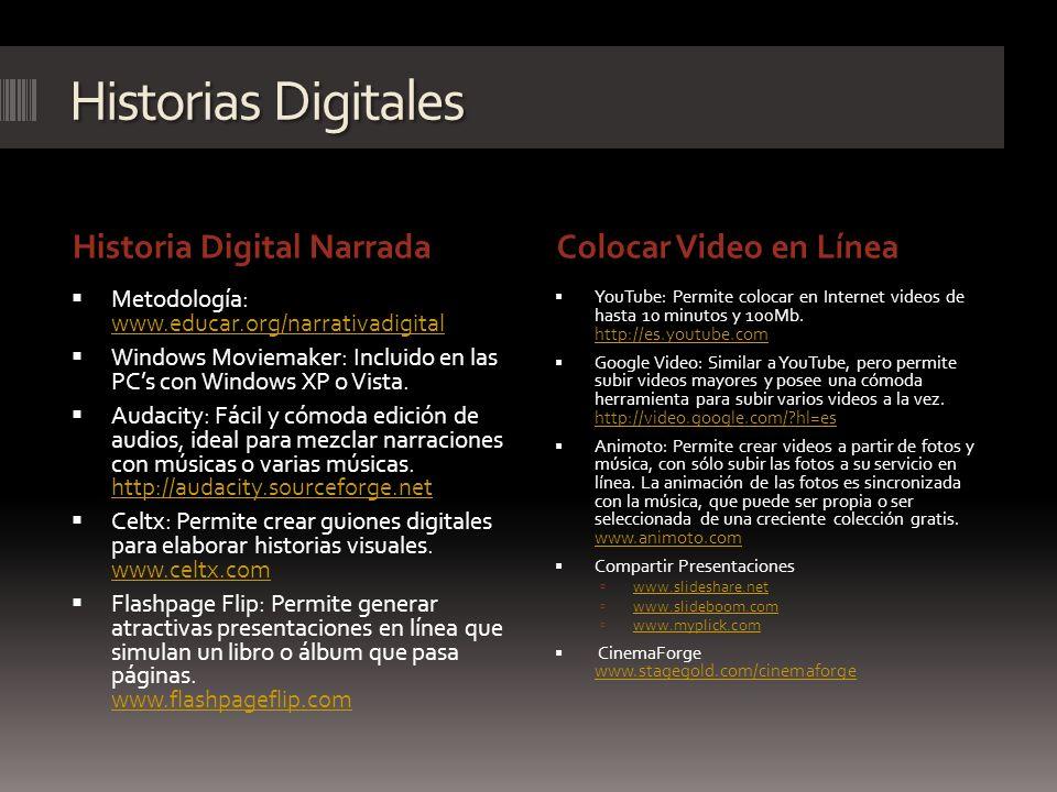 Historias Digitales Historia Digital NarradaColocar Video en Línea Metodología: www.educar.org/narrativadigital www.educar.org/narrativadigital Window