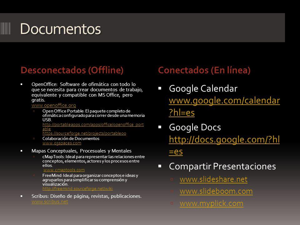 Documentos Desconectados (Offline)Conectados (En línea) OpenOffice: Software de ofimática con todo lo que se necesita para crear documentos de trabajo