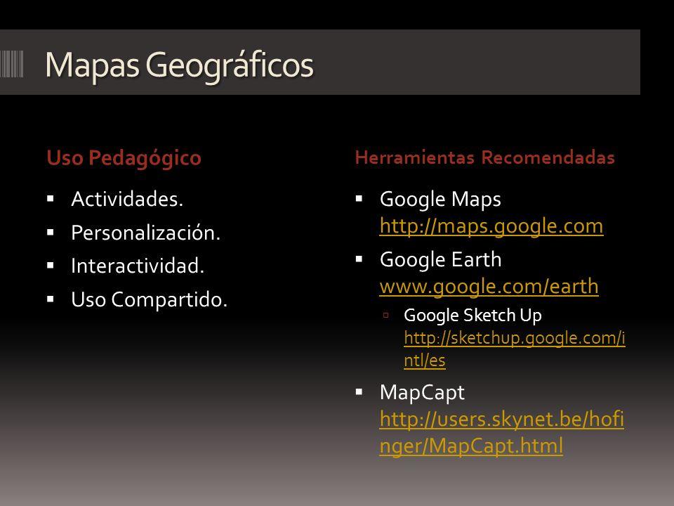 Mapas Geográficos Uso Pedagógico Herramientas Recomendadas Actividades. Personalización. Interactividad. Uso Compartido. Google Maps http://maps.googl