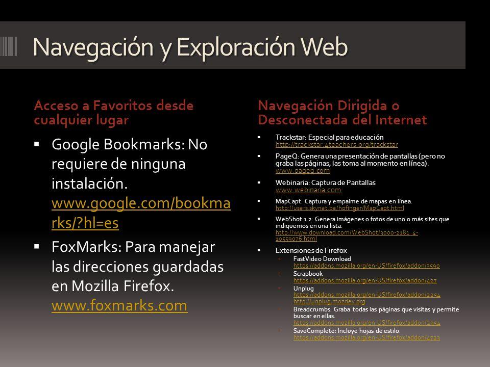 Navegación y Exploración Web Acceso a Favoritos desde cualquier lugar Navegación Dirigida o Desconectada del Internet Google Bookmarks: No requiere de
