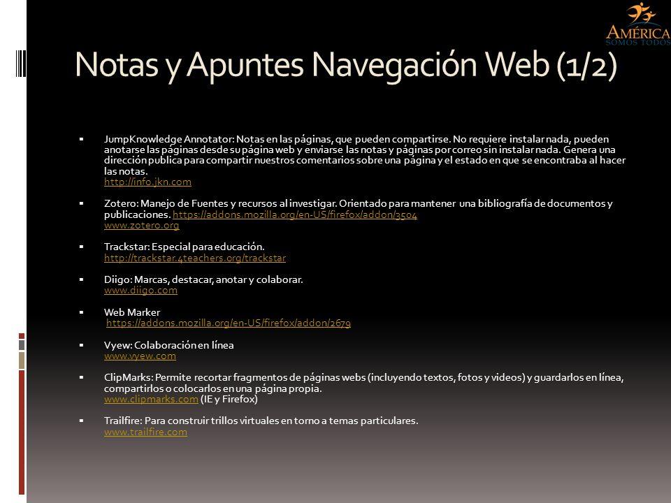 Notas y Apuntes Navegación Web (1/2) JumpKnowledge Annotator: Notas en las páginas, que pueden compartirse. No requiere instalar nada, pueden anotarse