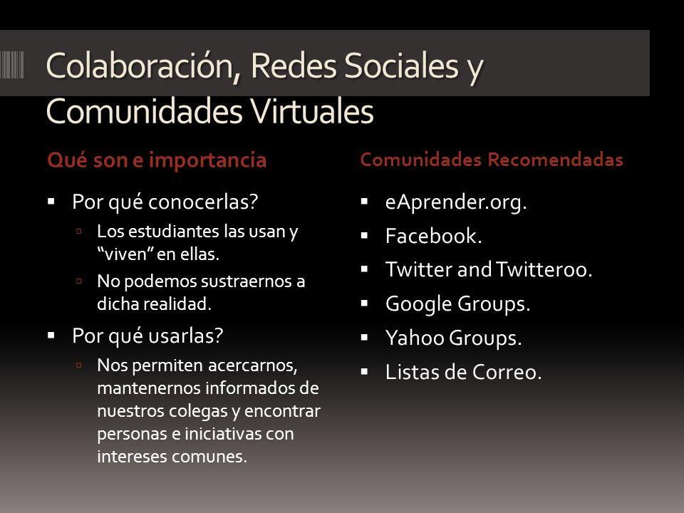 Colaboración, Redes Sociales y Comunidades Virtuales Qué son e importancia Comunidades Recomendadas Por qué conocerlas? Los estudiantes las usan y viv