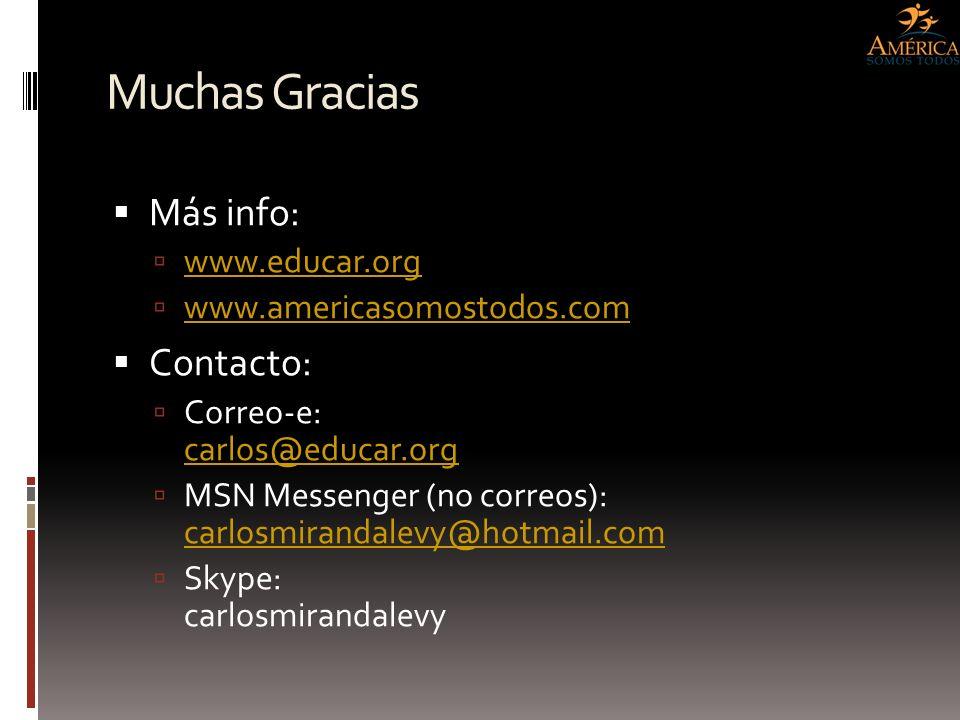 Muchas Gracias Más info: www.educar.org www.americasomostodos.com Contacto: Correo-e: carlos@educar.org carlos@educar.org MSN Messenger (no correos):