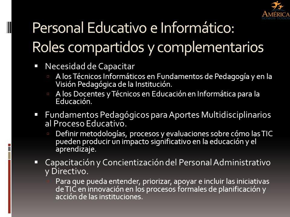 Personal Educativo e Informático: Roles compartidos y complementarios Necesidad de Capacitar A los Técnicos Informáticos en Fundamentos de Pedagogía y