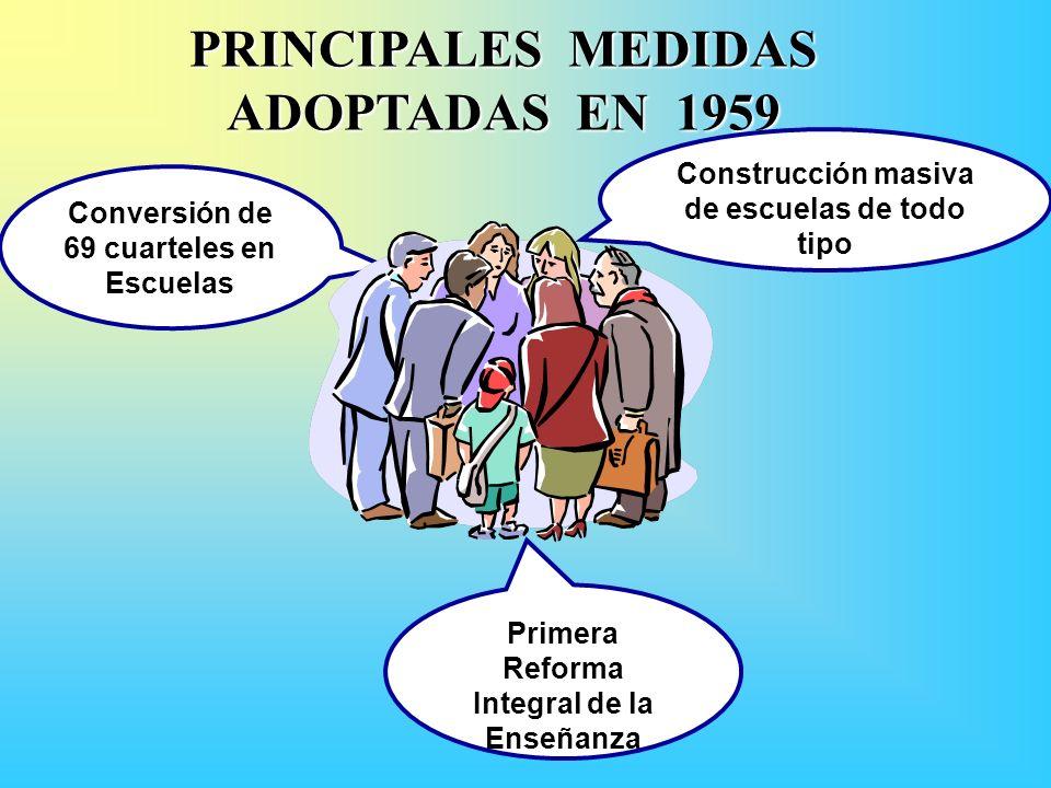 PRINCIPALES MEDIDAS ADOPTADAS EN 1959 Conversión de 69 cuarteles en Escuelas Primera Reforma Integral de la Enseñanza Construcción masiva de escuelas de todo tipo
