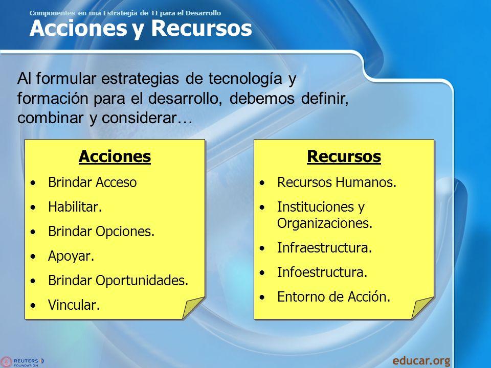 Componentes en una Estrategia de TI para el Desarrollo Acciones y Recursos Acciones Brindar Acceso Habilitar. Brindar Opciones. Apoyar. Brindar Oportu