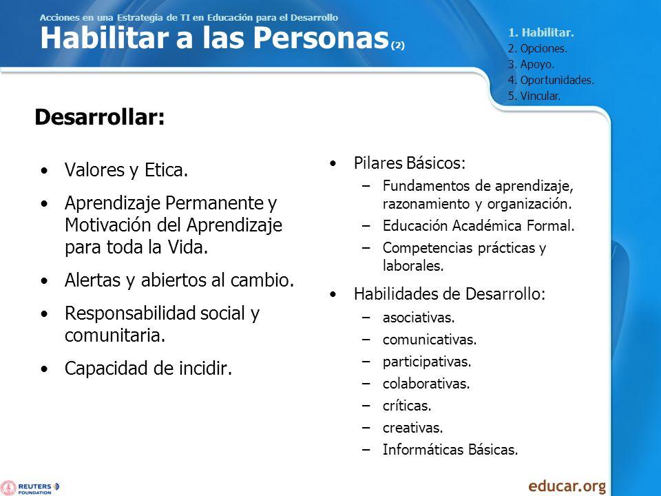 Acciones en una Estrategia de TI en Educación para el Desarrollo Habilitar a las Personas (2) Valores y Etica. Aprendizaje Permanente y Motivación del