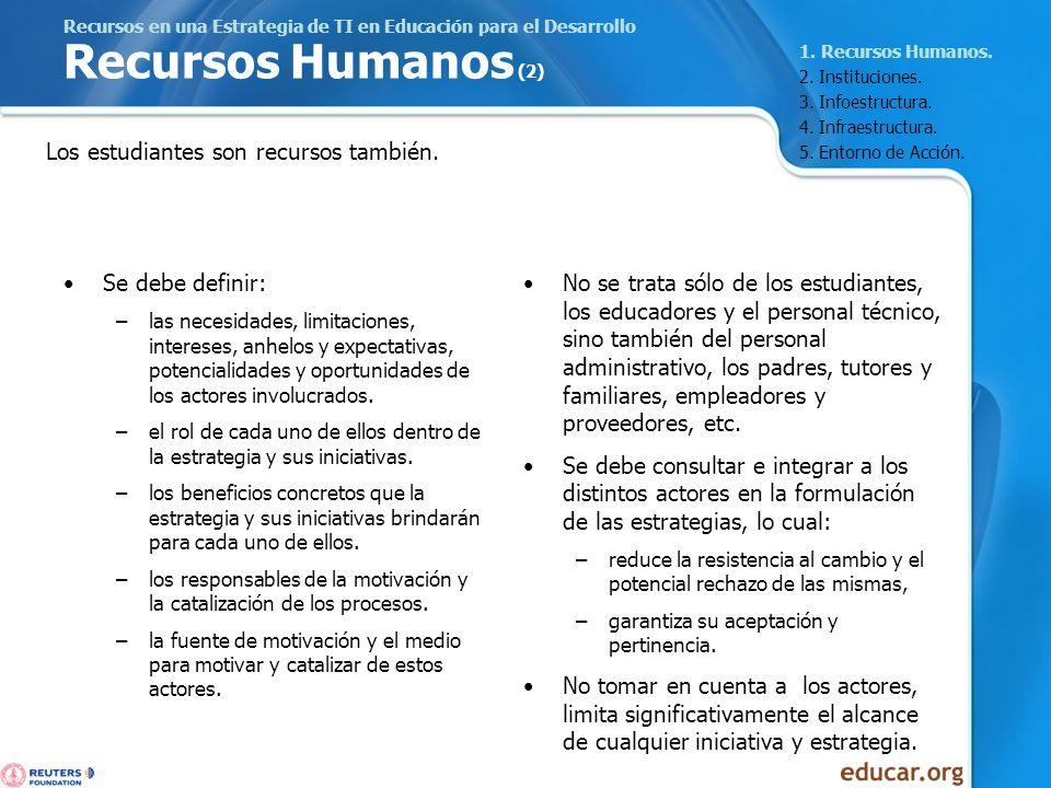 Recursos en una Estrategia de TI en Educación para el Desarrollo Recursos Humanos (2) Se debe definir: –las necesidades, limitaciones, intereses, anhe