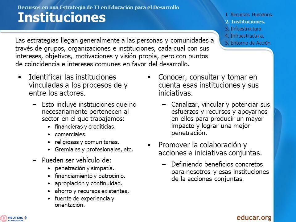 Recursos en una Estrategia de TI en Educación para el Desarrollo Instituciones Identificar las instituciones vinculadas a los procesos de y entre los
