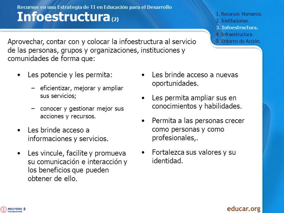 Recursos en una Estrategia de TI en Educación para el Desarrollo Infoestructura (2) Les potencie y les permita: –eficientizar, mejorar y ampliar sus s