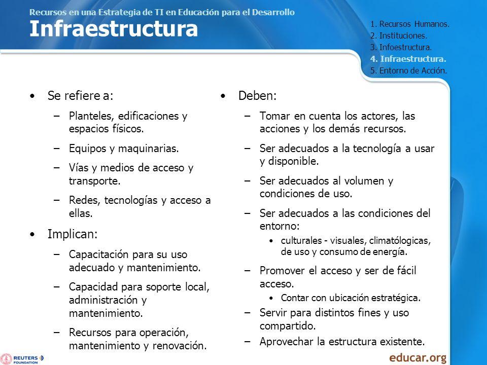 Recursos en una Estrategia de TI en Educación para el Desarrollo Infraestructura Se refiere a: –Planteles, edificaciones y espacios físicos. –Equipos