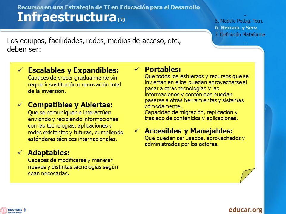 Recursos en una Estrategia de TI en Educación para el Desarrollo Infraestructura (2) Escalables y Expandibles: Capaces de crecer gradualmente sin requ