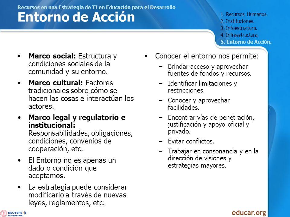 Recursos en una Estrategia de TI en Educación para el Desarrollo Entorno de Acción Marco social: Estructura y condiciones sociales de la comunidad y s