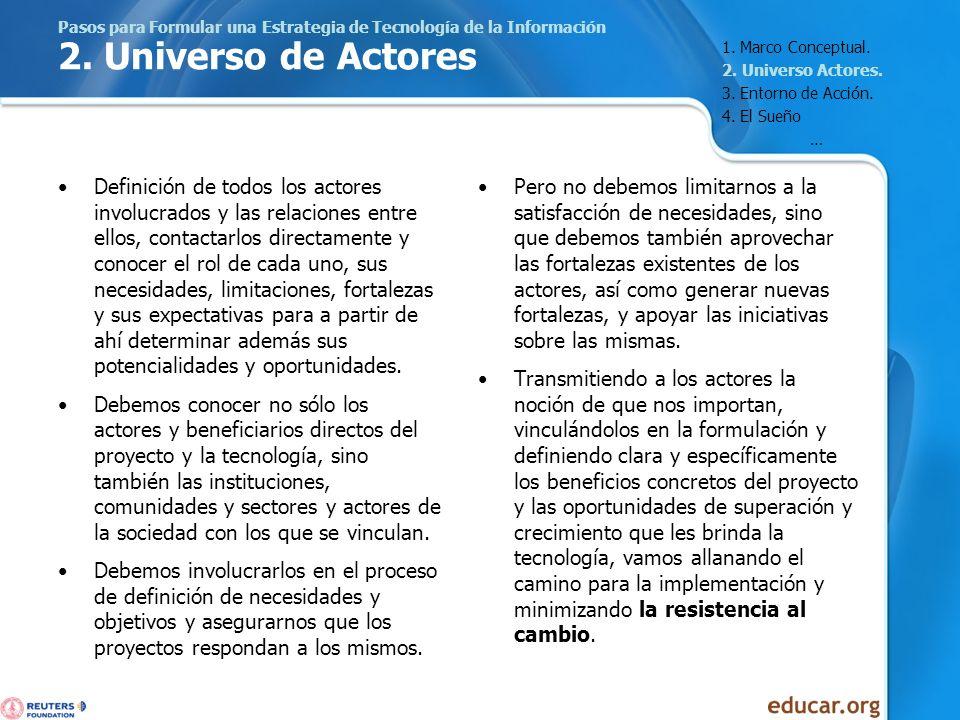 Pasos para Formular una Estrategia de Tecnología de la Información 2. Universo de Actores Definición de todos los actores involucrados y las relacione