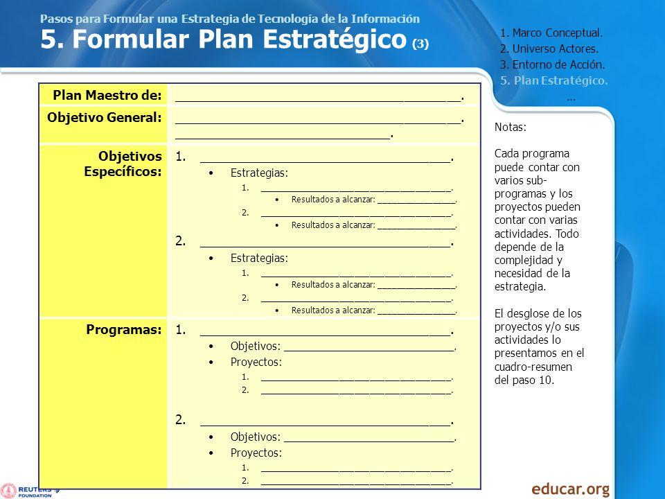 Pasos para Formular una Estrategia de Tecnología de la Información 5. Formular Plan Estratégico (3) Plan Maestro de:__________________________________