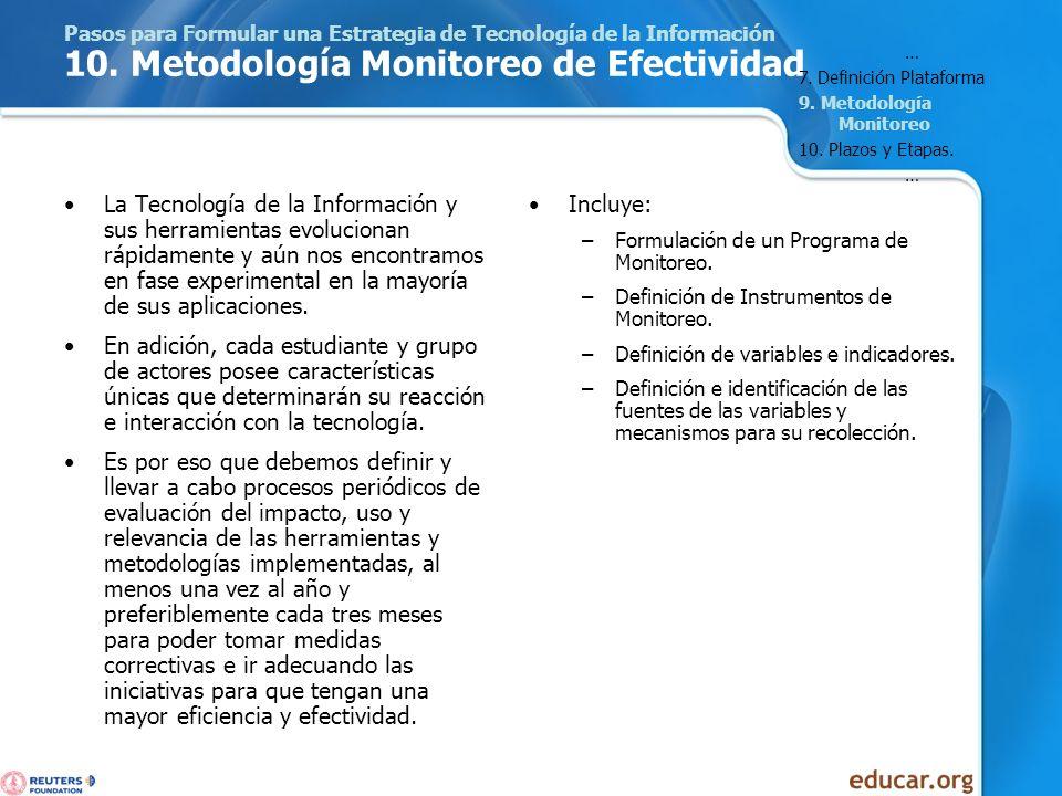 Pasos para Formular una Estrategia de Tecnología de la Información 10. Metodología Monitoreo de Efectividad La Tecnología de la Información y sus herr
