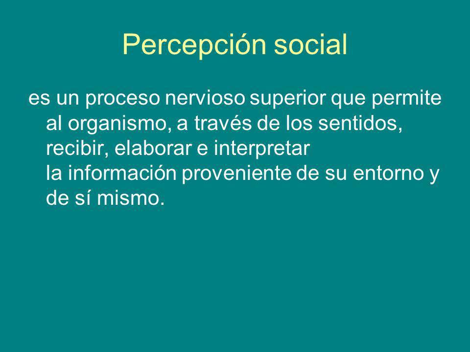 Percepción social es un proceso nervioso superior que permite al organismo, a través de los sentidos, recibir, elaborar e interpretar la información p