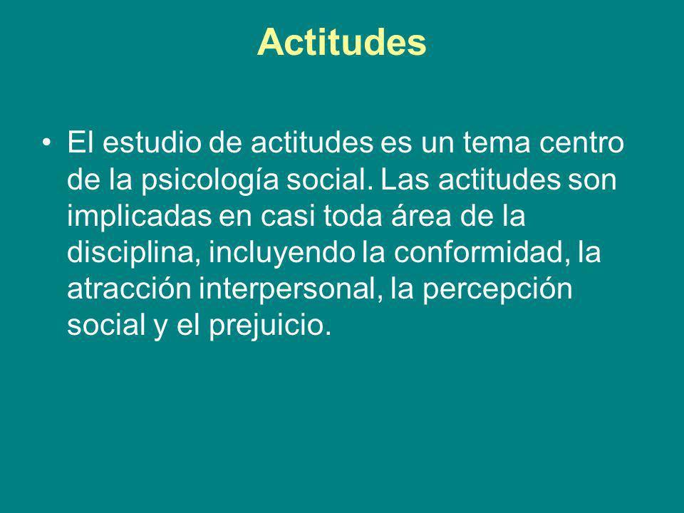 Actitudes El estudio de actitudes es un tema centro de la psicología social. Las actitudes son implicadas en casi toda área de la disciplina, incluyen