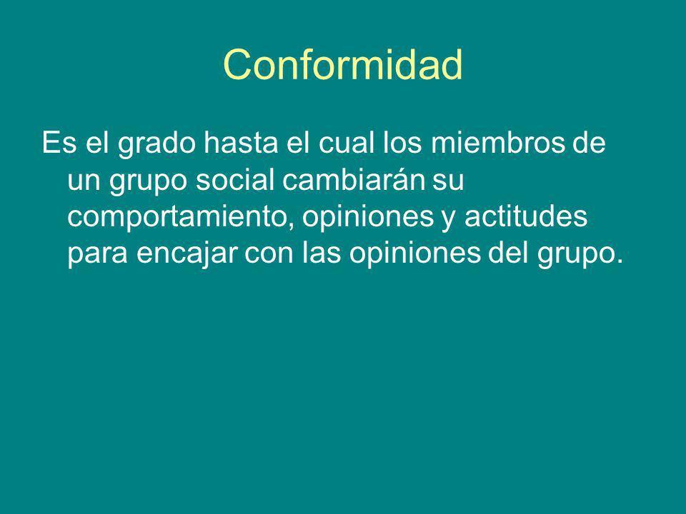Conformidad Es el grado hasta el cual los miembros de un grupo social cambiarán su comportamiento, opiniones y actitudes para encajar con las opinione
