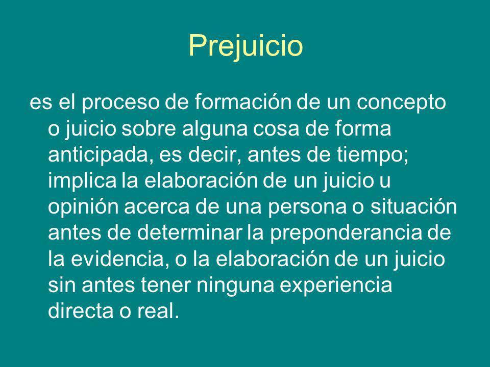 Prejuicio es el proceso de formación de un concepto o juicio sobre alguna cosa de forma anticipada, es decir, antes de tiempo; implica la elaboración