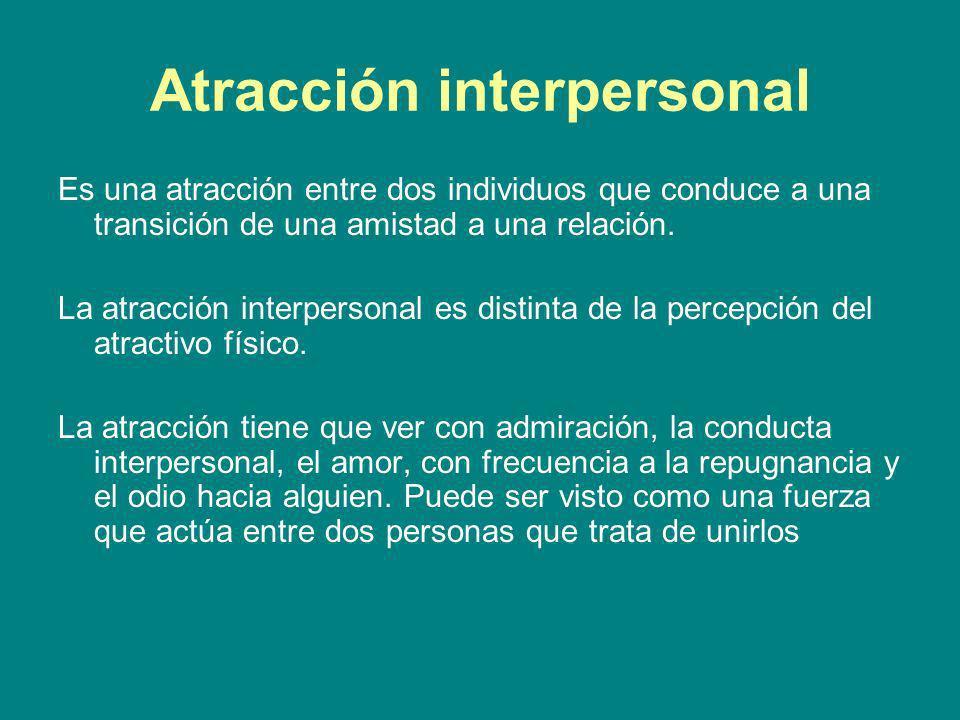 Atracción interpersonal Es una atracción entre dos individuos que conduce a una transición de una amistad a una relación. La atracción interpersonal e