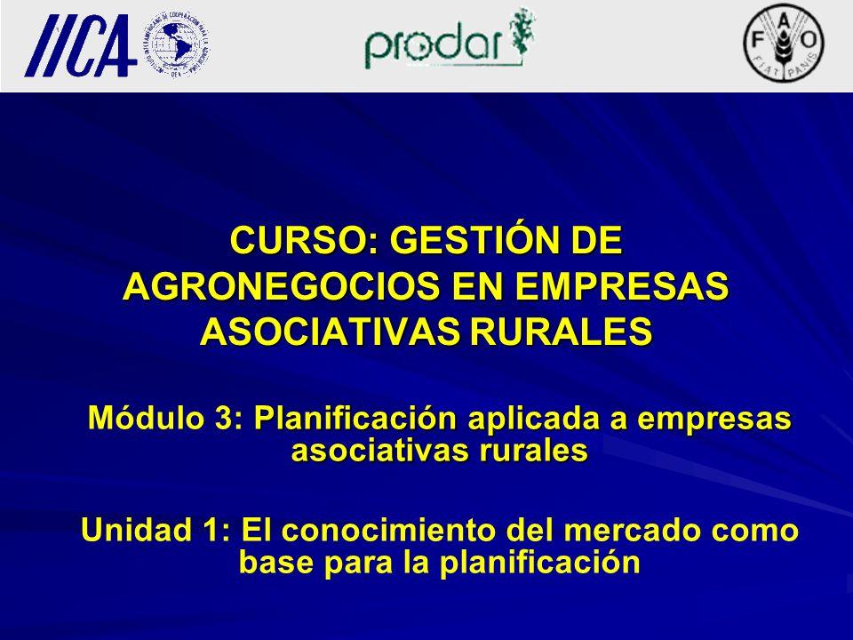 CURSO: GESTIÓN DE AGRONEGOCIOS EN EMPRESAS ASOCIATIVAS RURALES Planificación aplicada a empresas asociativas rurales Módulo 3: Planificación aplicada