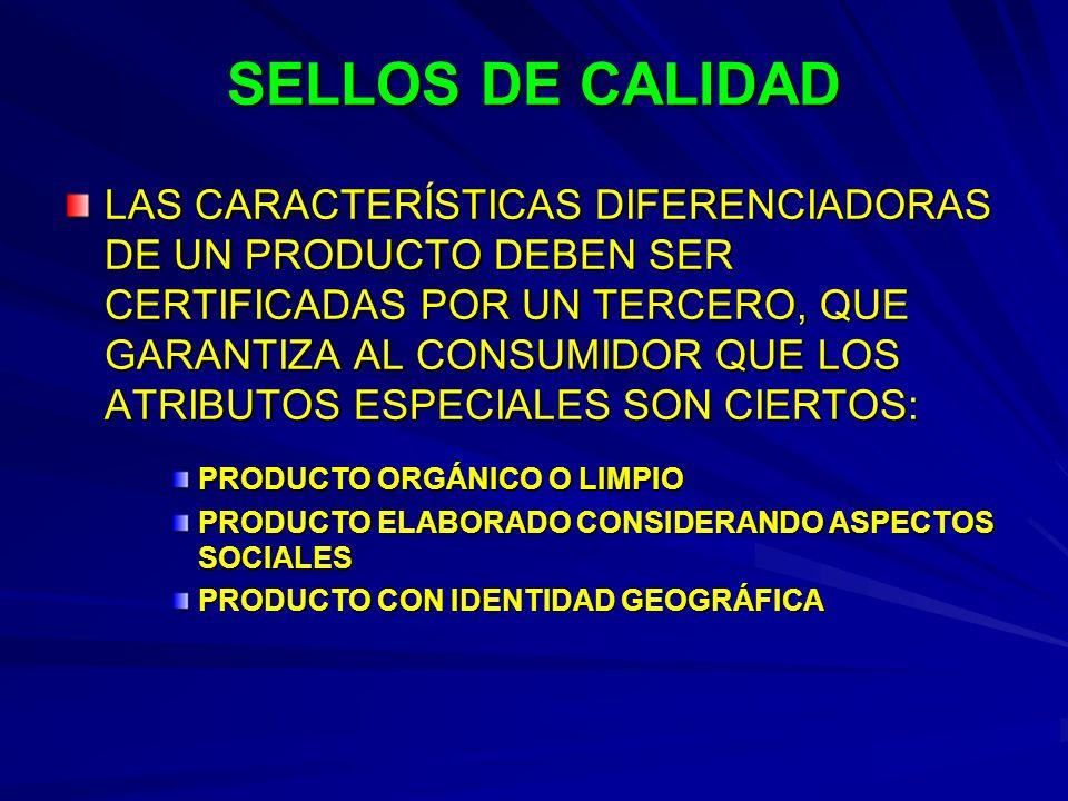 SELLOS DE CALIDAD LAS CARACTERÍSTICAS DIFERENCIADORAS DE UN PRODUCTO DEBEN SER CERTIFICADAS POR UN TERCERO, QUE GARANTIZA AL CONSUMIDOR QUE LOS ATRIBU
