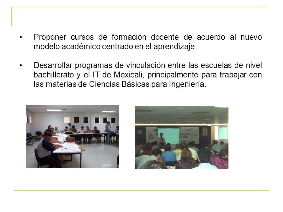 Proponer cursos de formación docente de acuerdo al nuevo modelo académico centrado en el aprendizaje. Desarrollar programas de vinculación entre las e